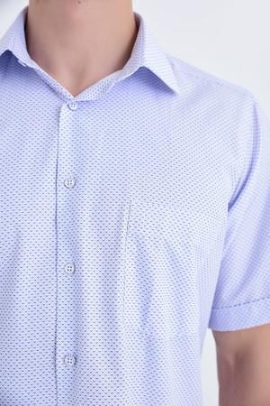 Desenli Klasik Lacivert Gömlek - Thumbnail