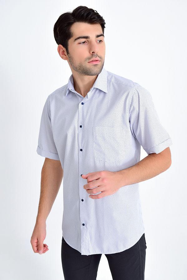 Kısa Kol Lacivert Desenli Gömlek