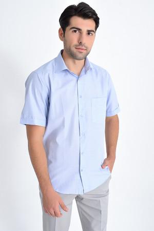 Hatemoğlu - Kısa Kol Mavi Desenli Regular Fit Gömlek