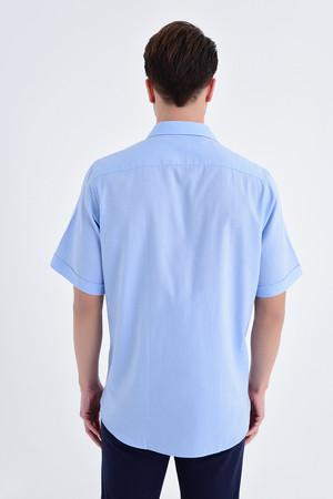 Desenli Klasik Mavi Gömlek - Thumbnail