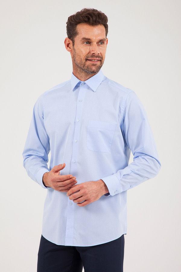 Hatem Saykı - Desenli Klasik Mavi Gömlek