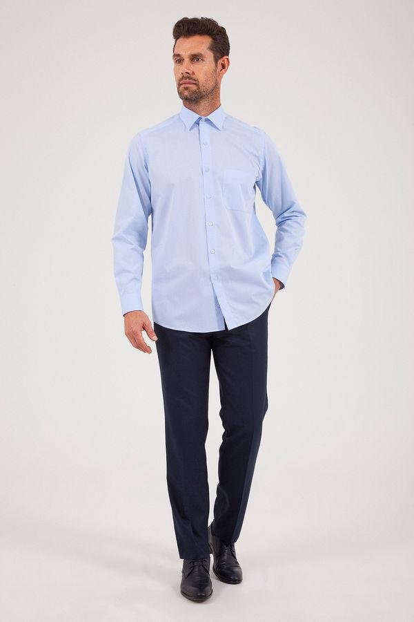 Hatem Saykı - Desenli Klasik Mavi Gömlek (1)