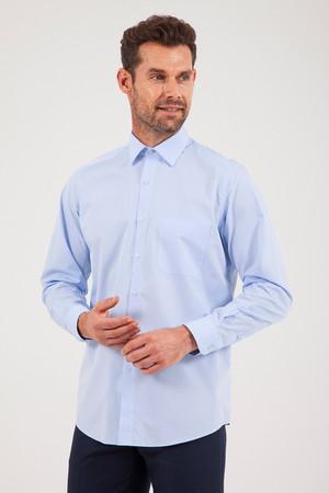 Hatemoğlu - Desenli Klasik Mavi Gömlek
