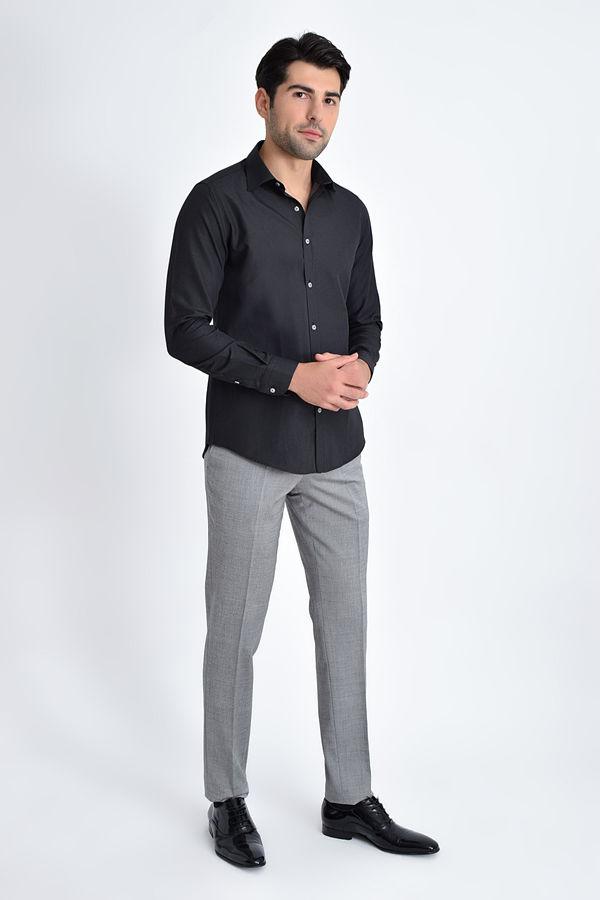Hatemoğlu - Desenli Klasik Siyah Gömlek (1)