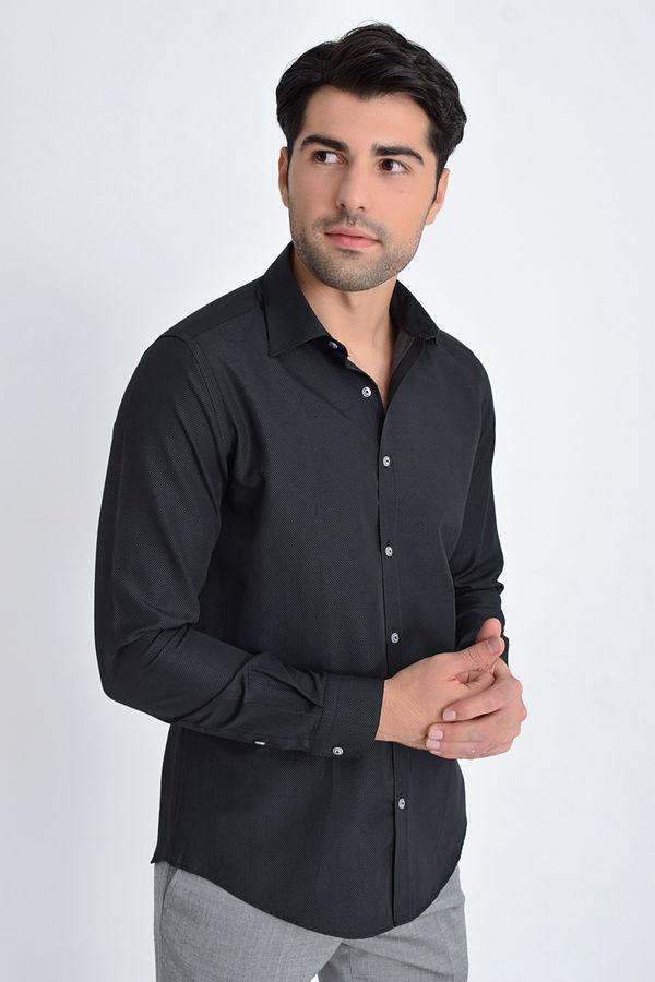 Hatemoğlu - Desenli Klasik Siyah Gömlek