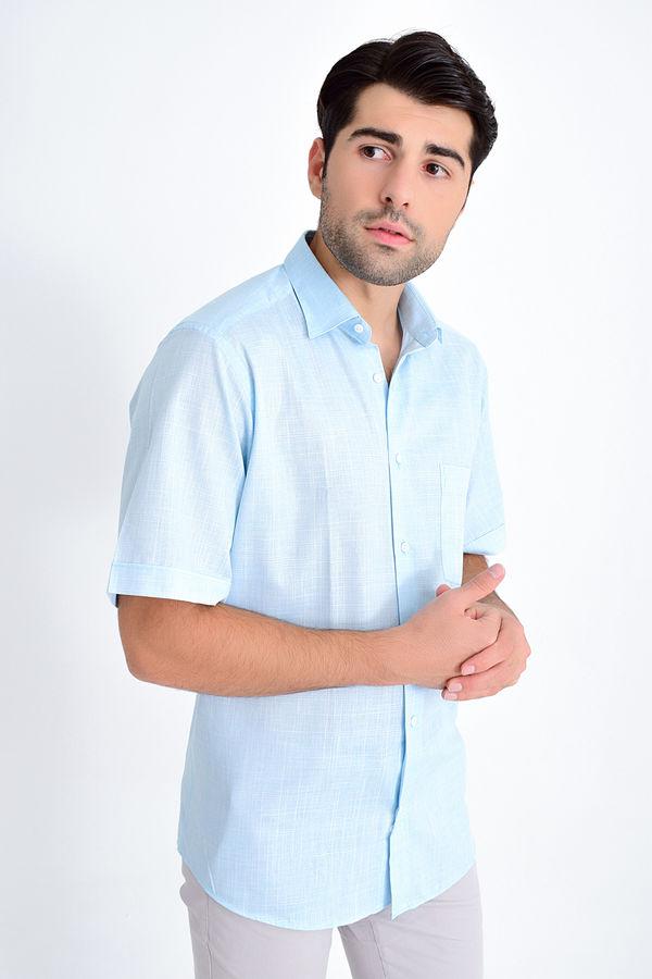 Hatemoğlu - Desenli Klasik Turkuaz Gömlek
