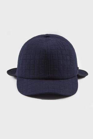 Desenli Lacivert Şapka - Thumbnail