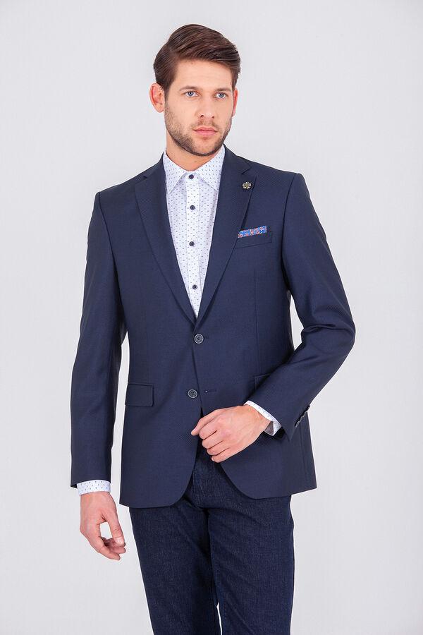 Hatem Saykı - Desenli Lacivert Slim Fit Ceket