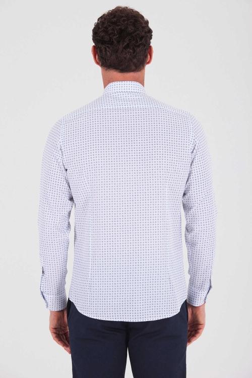 Desenli Lacivert Slim Fit Gömlek