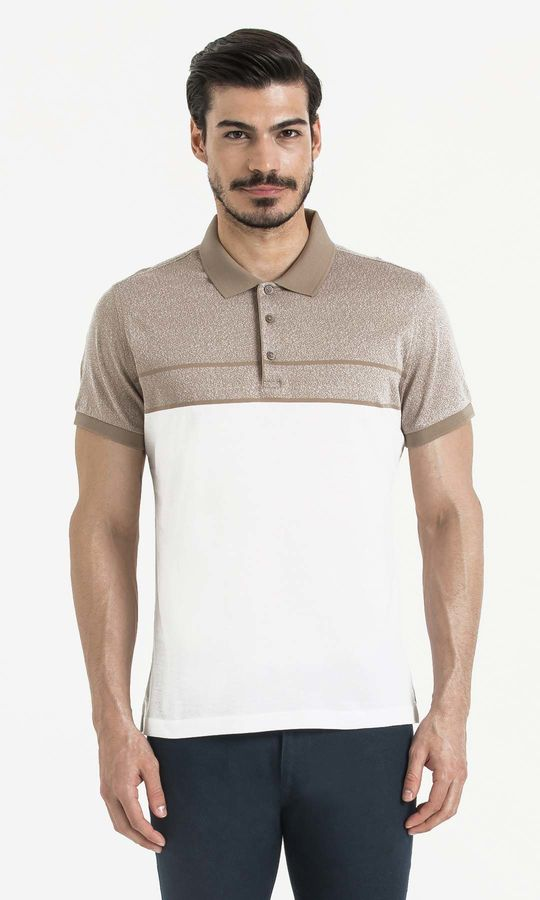 Hatem Saykı - Bej Blok Desenli Polo Yaka Tişört