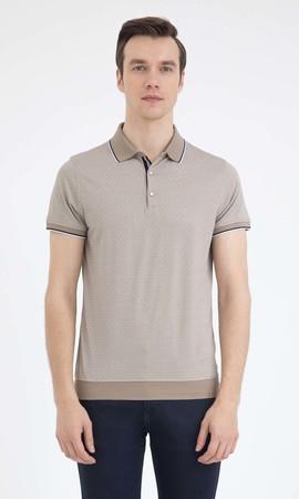 Hatem Saykı - Bej Desenli Polo Yaka Tişört