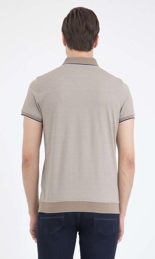 Bej Desenli Polo Yaka Tişört