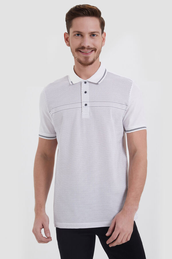 Hatemoğlu - Beyaz Polo Yaka Desenli Tişört