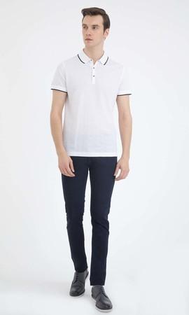 Hatem Saykı - Beyaz Desenli Polo Yaka Tişört (1)
