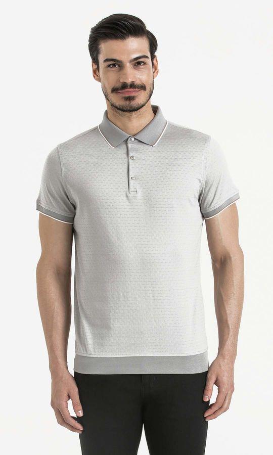 Hatem Saykı - Beyaz Desenli Polo Yaka Tişört