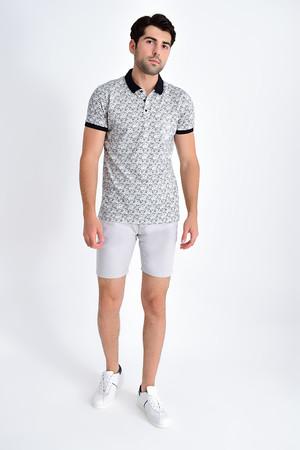 HTML - Beyaz Siyah Desenli Polo Yaka Tişört (1)