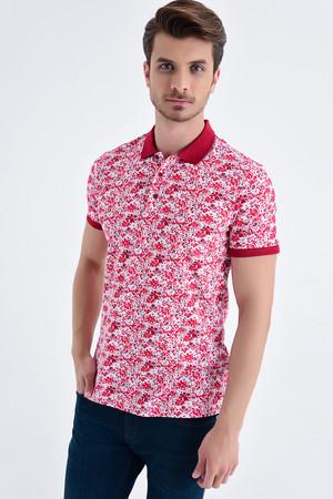HTML - Kırmızı Çiçek Desenli Polo Yaka Tişört