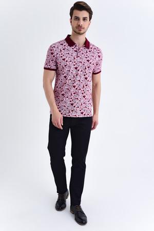 HTML - Siyah Çiçek Desenli Polo Yaka Tişört (1)