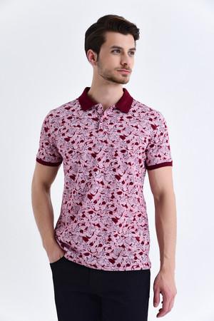 HTML - Siyah Çiçek Desenli Polo Yaka Tişört