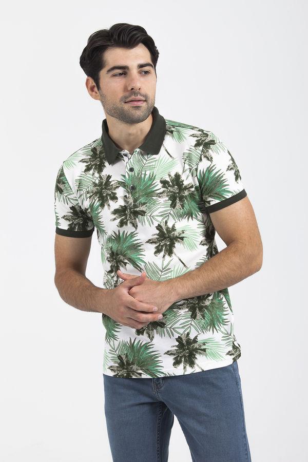 HTML - Yeşil Çiçek Desenli Polo Yaka Tişört