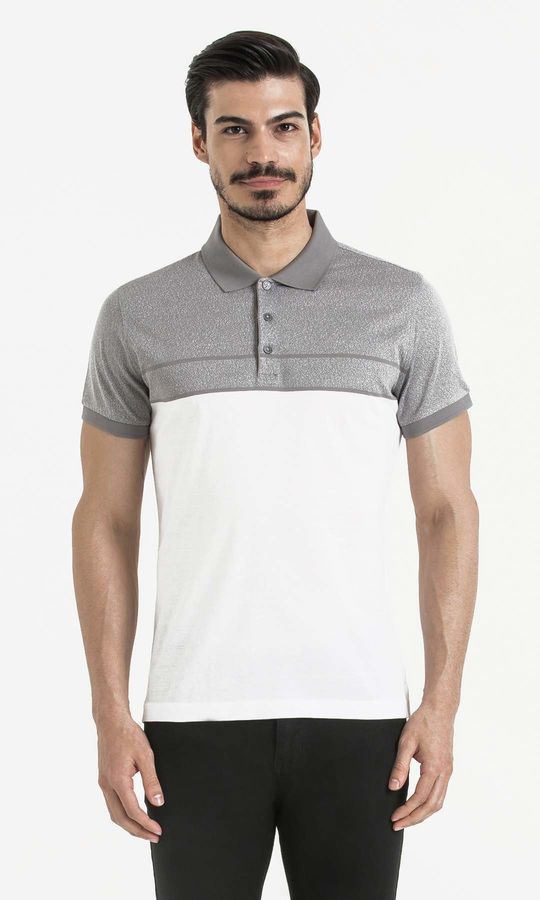 Hatem Saykı - Gri Blok Desenli Polo Yaka Tişört