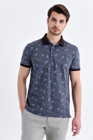 Hatem Saykı - Gri Baskılı Polo Yaka Tişört