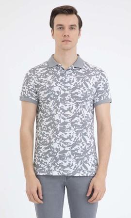 HTML - Desenli Polo Yaka Gri Tişört