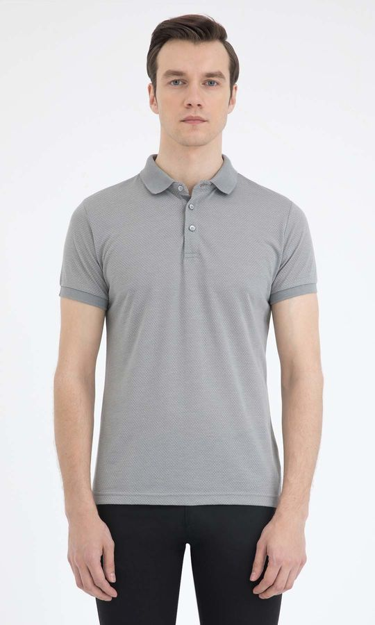 HTML - Gri Desenli Polo Yaka Basic Tişört