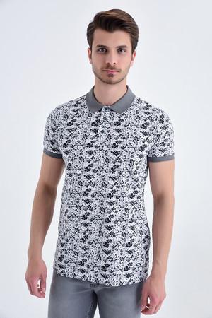HTML - Gri Çiçek Desenli Polo Yaka Tişört