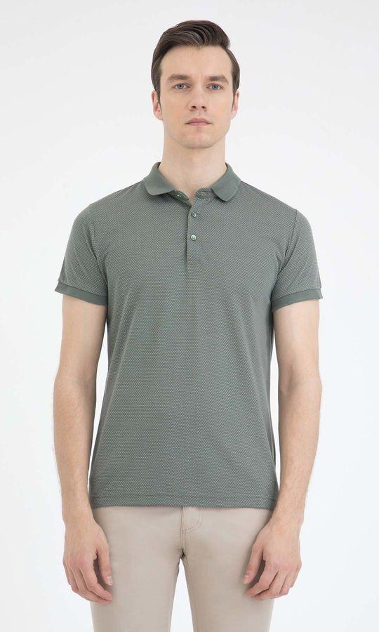 HTML - Haki Desenli Polo Yaka Basic Tişört