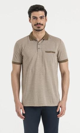 Hatemoğlu - Kahverengi Polo Yaka Desenli Tişört