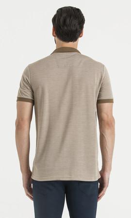 Kahverengi Polo Yaka Desenli Tişört - Thumbnail