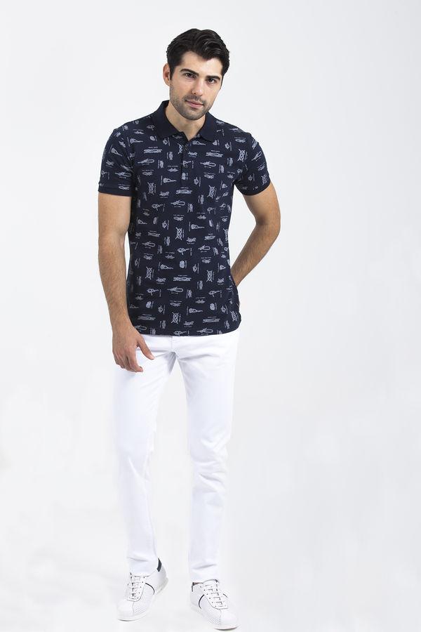 HTML - Desenli Polo Yaka Lacivert T-shirt (1)