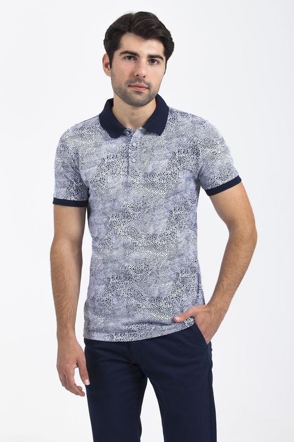 HTML - Desenli Polo Yaka Lacivert T-shirt