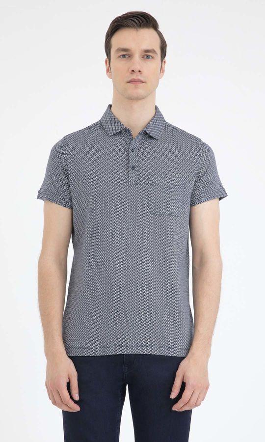 Hatem Saykı - Lacivert Desenli Polo Yaka Tişört
