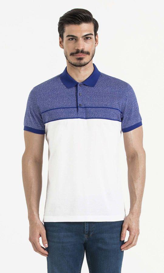 Hatem Saykı - Mavi Blok Desenli Polo Yaka Tişört