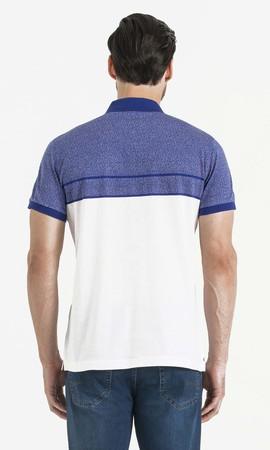 Mavi Blok Desenli Polo Yaka Tişört - Thumbnail