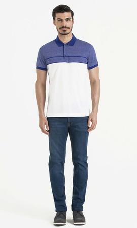 Hatem Saykı - Mavi Blok Desenli Polo Yaka Tişört (1)