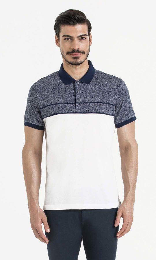 Hatem Saykı - Desenli Polo Yaka Lacivert Tişört
