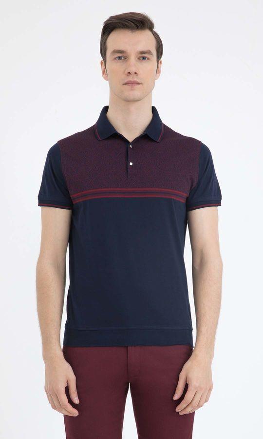 Hatem Saykı - Lacivert Bordo Desenli Polo Yaka Tişört