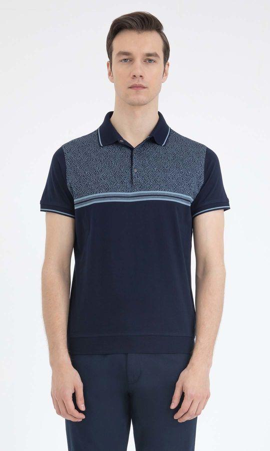 Hatem Saykı - Lacivert Mavi Desenli Polo Yaka Tişört