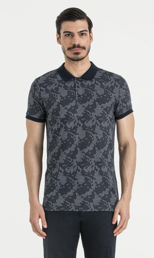 HTML - Lacivert Desenli Polo Yaka Tişört