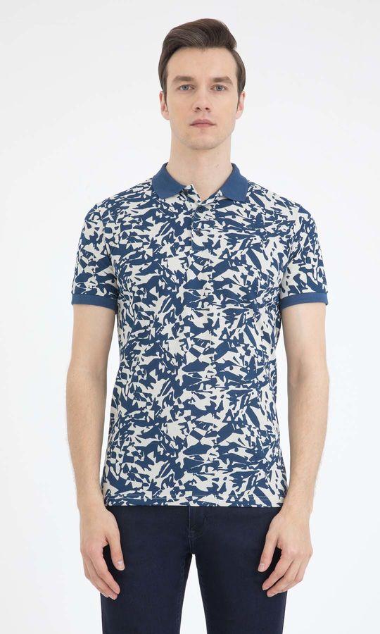Desenli Polo Yaka Lacivert Tişört