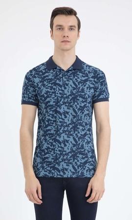 HTML - Desenli Polo Yaka Lacivert Tişört