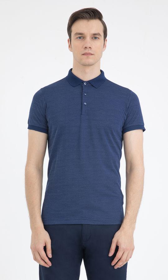 HTML - Lacivert Desenli Polo Yaka Basic Tişört