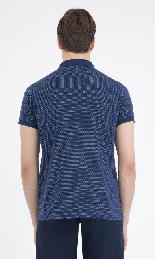 Lacivert Desenli Polo Yaka Basic Tişört