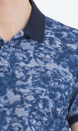 Mavi Desenli Polo Yaka Tişört - Thumbnail