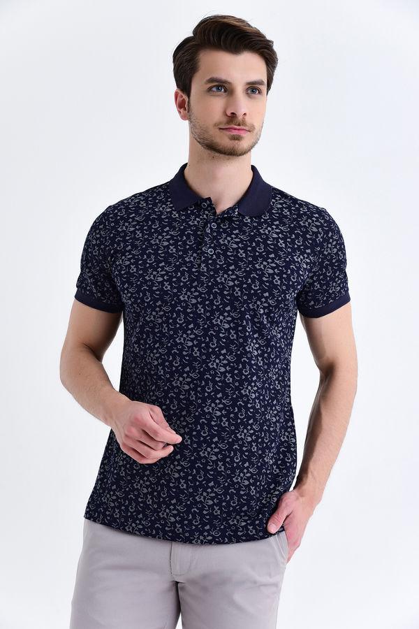 HTML - Lacivert Çiçek Desenli Polo Yaka Tişört