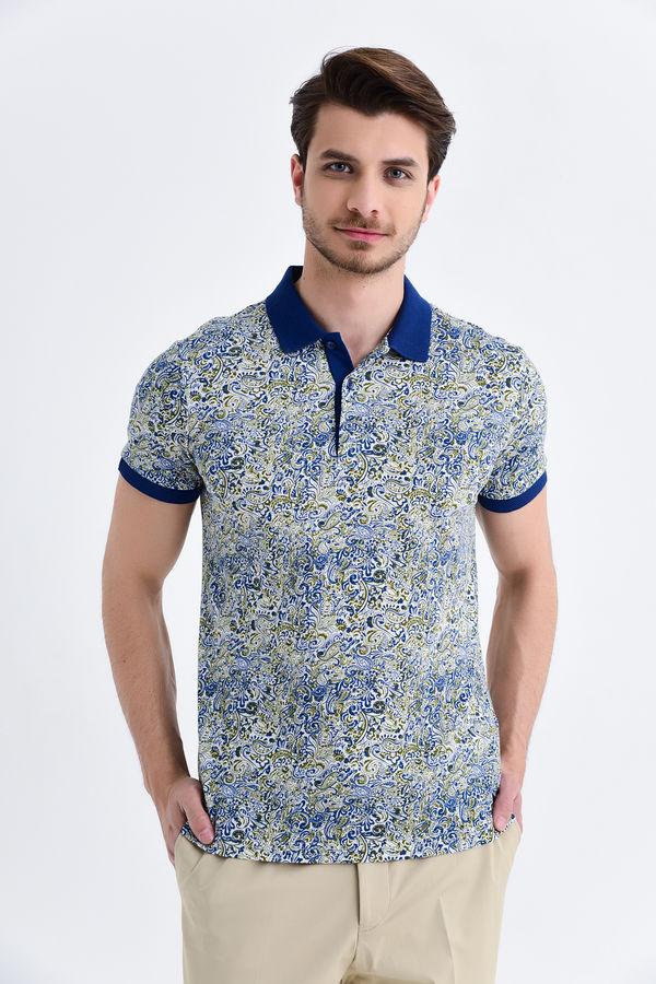 HTML - Lacivert Şal Desenli Polo Yaka Tişört