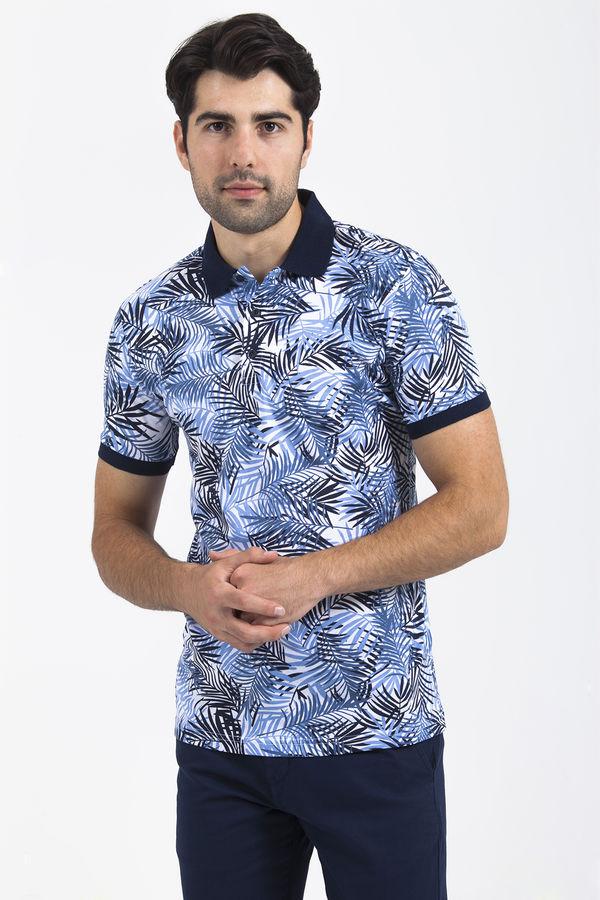 HTML - Mavi Yaprak Desenli Polo Yaka Tişört